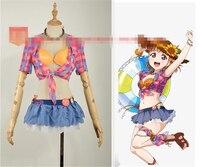 אנימה Lovelive שמש Takami צ 'יקה Ohara מארי Watanabe אתה קורוסאווה Lubi Cartoon Cosplay תלבושות סקסית ביקיני ורוד Cos בגדים