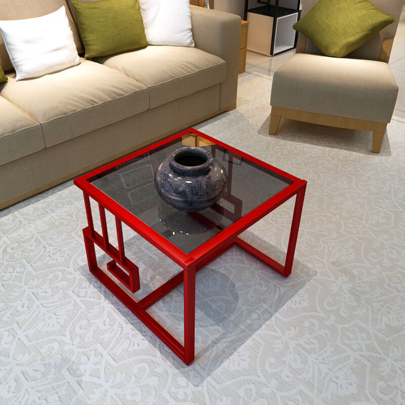 Modern minimalist living room small assemble tea table sofa side cabinet table corner small glass side table toughened glass phone corner sofa a few little sitting room tea table