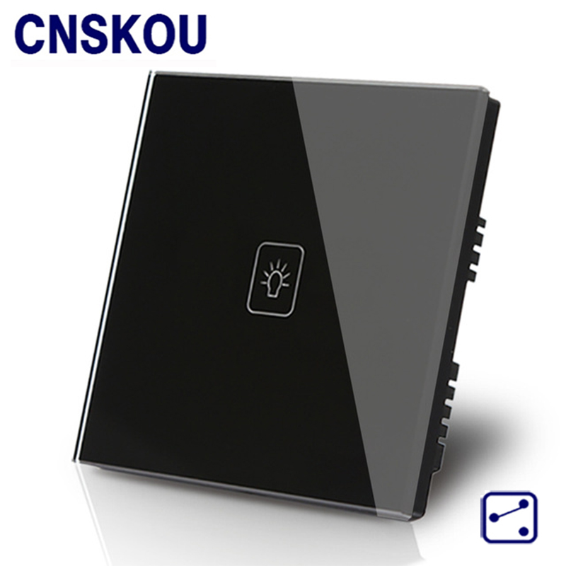 Cnskou UK 1gang 2way 12v wall smart touch switch black crystal glass panel touch switch for LED smart home factory free shipping smart wall light switch white crystal glass panel 1gang 2way luxury touch switch ac110 265v 86mm 86mm home hotel