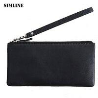 SIMLINE Brand Vintage Genuine Soft Sheep Leather Men Male Women Mens Long Zipper Wallet Wallets Purse