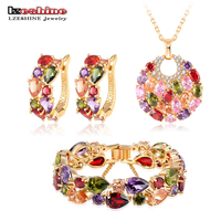 LZESHINE New 2015 Christmas Multicolor Zircon Women Bridal Jewelry Set Gold Plated Ear Clip Necklace Bracelet