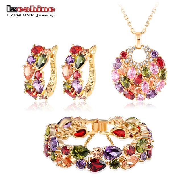 Lzeshine novo 2016 natal multicolor mulheres nupcial set jóias placa de ouro brinco do parafuso prisioneiro de zircão/colar/pulseira de jóias de casamento