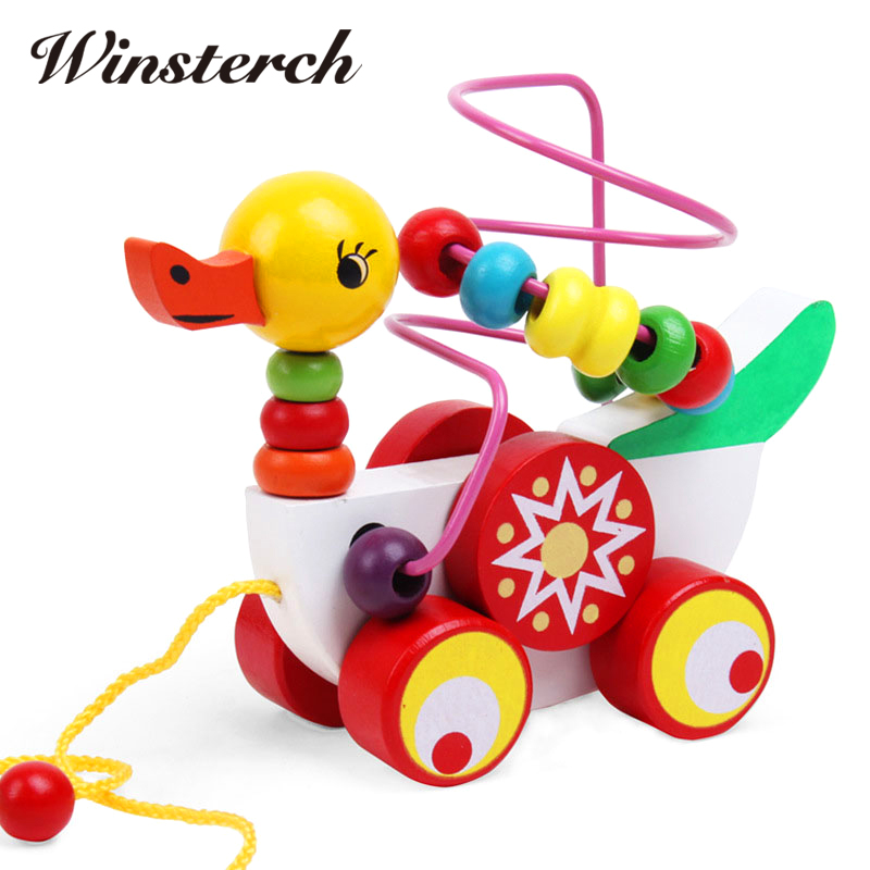 Beads Wooden Toys Duck trailer Car Shape Kids Baby Early Childhood Educational Diecasts Toys Vehicles Puzzle ZS053 children s early childhood educational toys the bear change clothes play toys creative wooden jigsaw puzzle girls toys