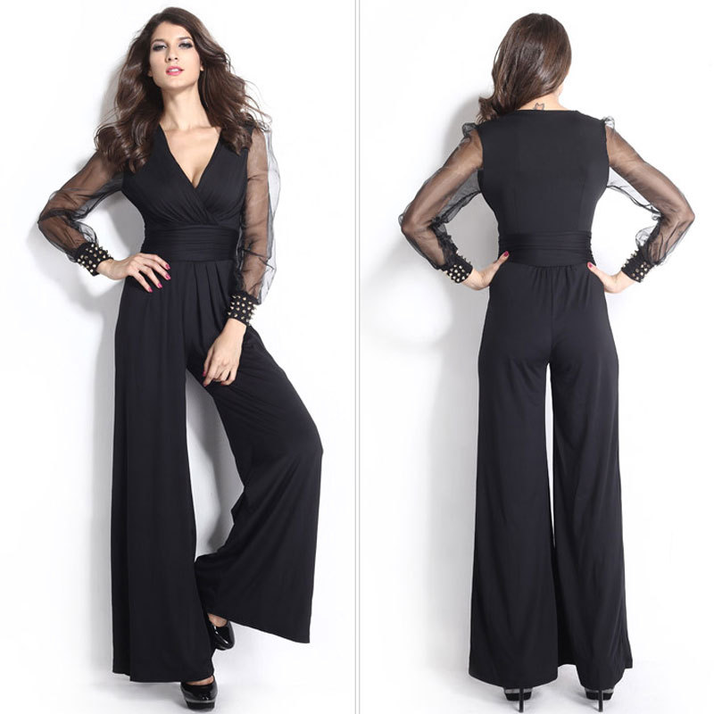 7abe9d2aca36 Womens Sexy Loose Jumpsuit Casual Elegant Black Chiffon Long sleeve V-neck  Outfits Sexy long jumpsuits for women