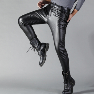 Image 3 - Thoshine מותג גברים עור מכנסיים Slim Fit אלסטי סגנון אביב קיץ אופנה עור מפוצל מכנסיים אופנוע מכנסיים Streetwear