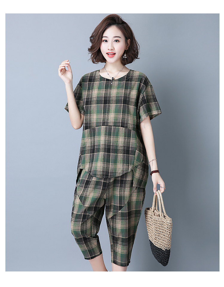 2019 Summer Plaid Cotton Linen Two Piece Sets Outfits Women Plus Size Short Sleeve Tops And Cropped Pants Casual Suits Red Green 46