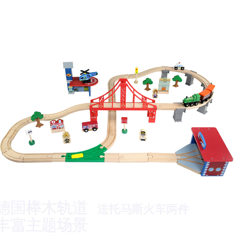 EDWONE 70pcs Wooden Train Track Toy Set Thomas Railway Diecast Educational Toys with BridgeBuildings Trees Figure