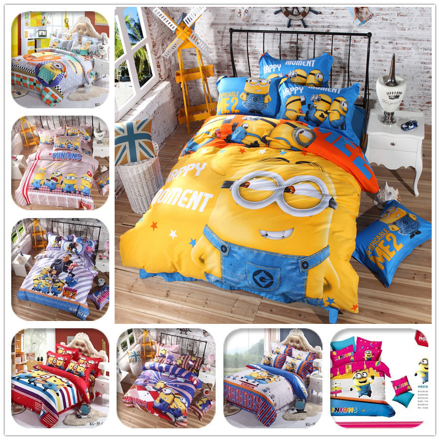 ec9d16d9416e Cartoon 3d Bedding Set Minions Mickey Mouse Hello Kitty Printed for Kids Cotton  Bed Linen 4pcs Duvet Cover Bed Sheet Pillowcases