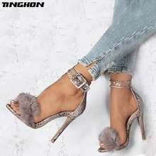TINGHON Women Stiletto Sandals High Heels Footwear Fur Ankle Strap Gladiator Female Wedding Sexy Shoes