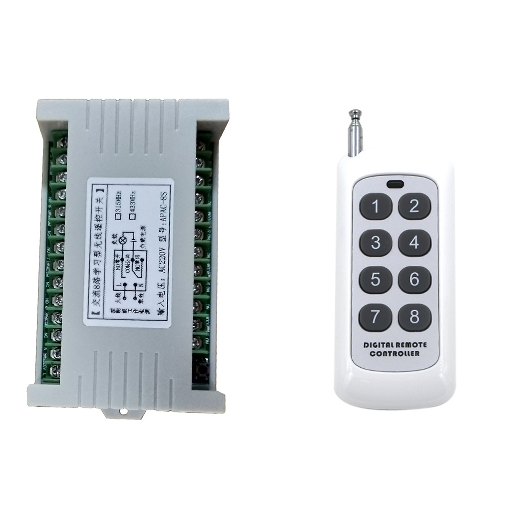 500m DC 2V 24V 8CH 8 CH Wireless Remote Control LED Light Switch Relay Output Radio RF Transmitter And 315/433 MHz Receiver