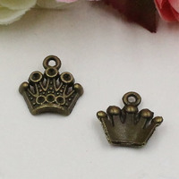 50pcs/lot Metal Zinc Alloy Antique Bronze Crown Charm Pendant For Necklace DIY Jewelry Making Accessories 13x13mm k03598
