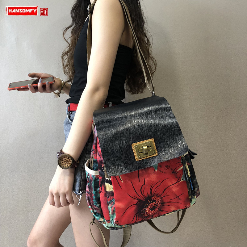 Women Backpack Casual Laptop Shoulder Bag Female Printed Canvas With Leather Travel Backpacks 2020 New Ethnic Style Street Youth