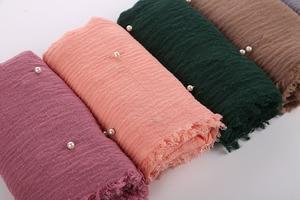 Image 5 - Bayan kabarcık pamuk boncuk kırışıklık eşarp şal buruşuk inci şal müslüman baş örtüsü viskon kışlık eşarplar 55 renk
