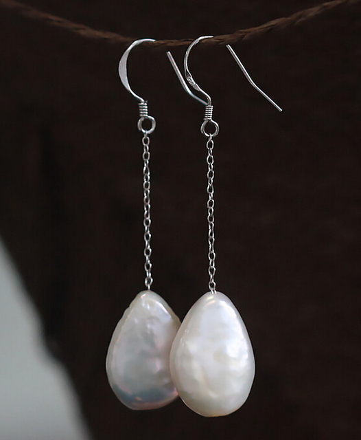 Baroque Natural Freshwater Pearl Earrings 13 14mm Shaped Long Line