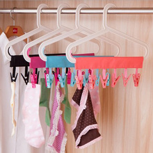 Multifunction Portable Foldable Socks Drying Cloth Hanger Rack Bathroom Traveling Clothespin Towel Clips 4 Colors