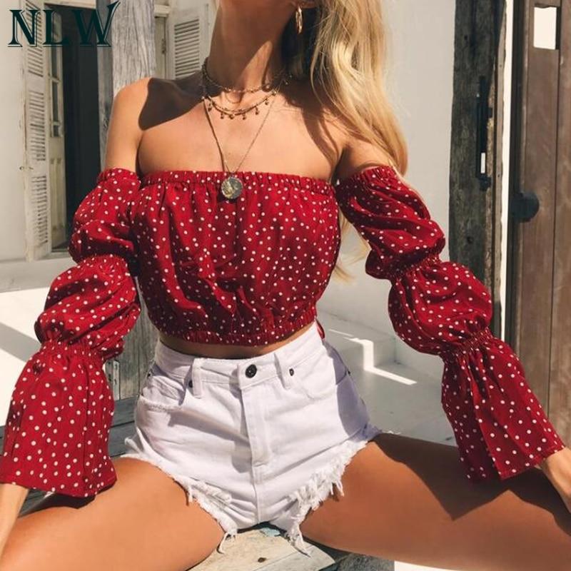 NLW Off Shoulder Crop Top Polka Dot   Blouse     Shirt   Boho Long Sleeve Short Women   Blouse   Strapless Sexy Vintage Summer Autumn Top