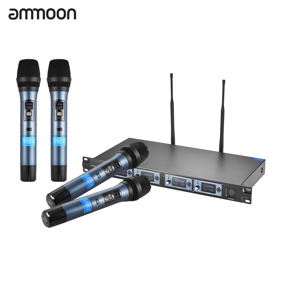 professional 4 channel uhf wireless handheld microphone system 4 microphones 1 wireless lcd. Black Bedroom Furniture Sets. Home Design Ideas
