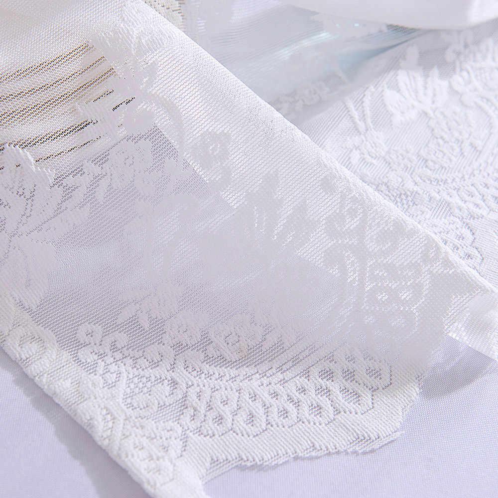 Indah Renda Dapur Tirai Elegan Bunga Tulle Tenun Bertekstur Kelambu Kamar Mandi Penutup Jendela Rumah Kopi Toko Dekorasi