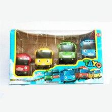 4 unids/set Tayo Coreana Lindo de Dibujos Animados el pequeño bus mini de plástico oyuncak araba luz música tayo bus modelo de coche para niños regalo