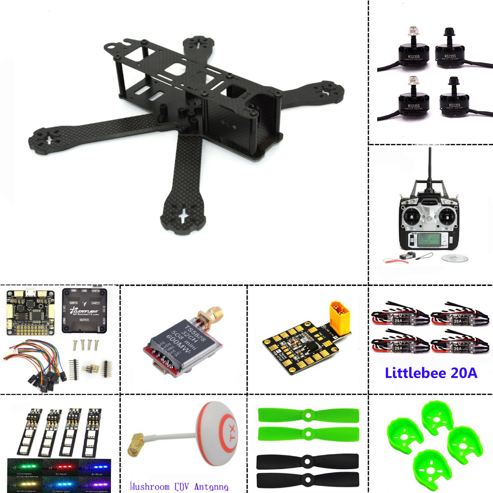 Carbon fiber frame DIY mini drone FPV  220mm quadcopter  for QAV-R 220+F3 Flight Controller emax RS2205 2300KV Motor mini 130mm carbon fiber fpv quadcopter frame kits with emax 1306 4000kv motor littlebee blheli s spring 20a esc f3 f4 fc ts5823l