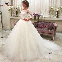 Custom Size Princess 3 4 Sleeve Lace Tulle Wedding Dresses Vintage Elegant Vestidos De Noiva Bridal