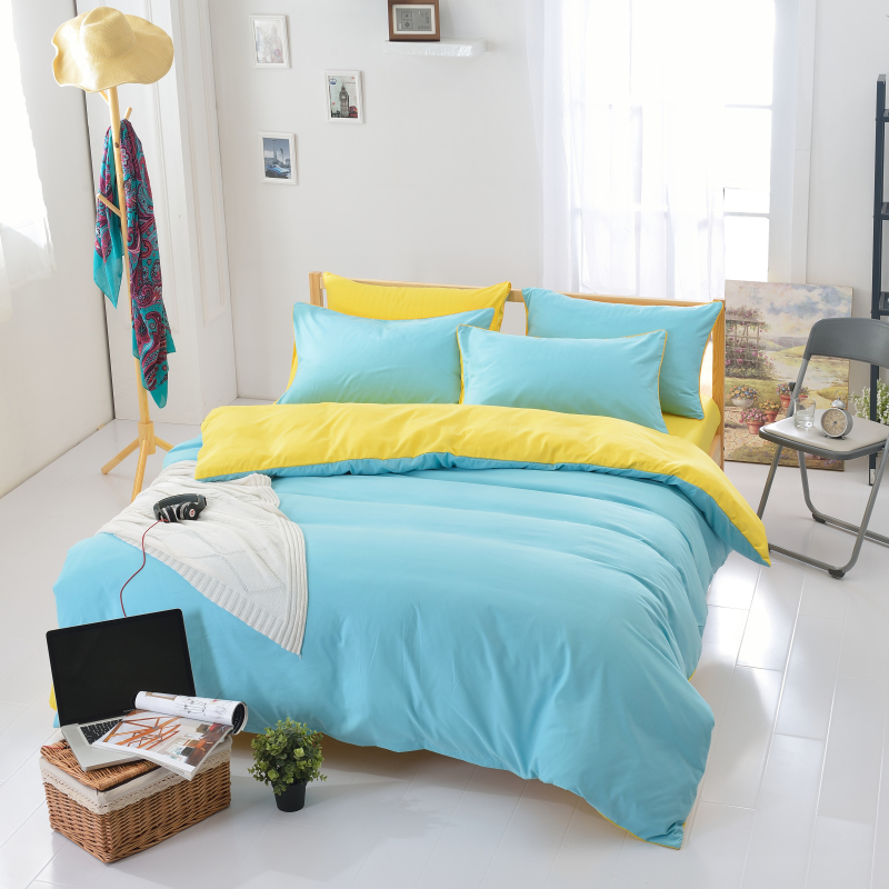 new arrival polyester brief blue yellow solid color queen twin full bedding bed sheet set bedclothes duvet cover set bedding set