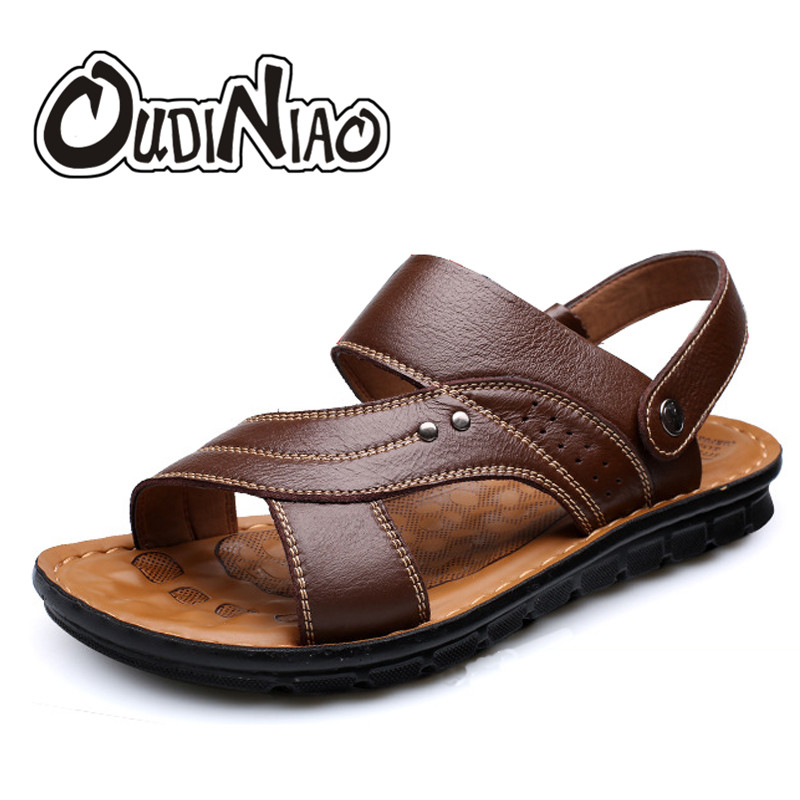 OUDINIAO Mens Shoes Genuine Cow Leather Men Sandals Summer Slipper Men Shoes Beach Breathable Buckle Gladiator Slip Sandals Men