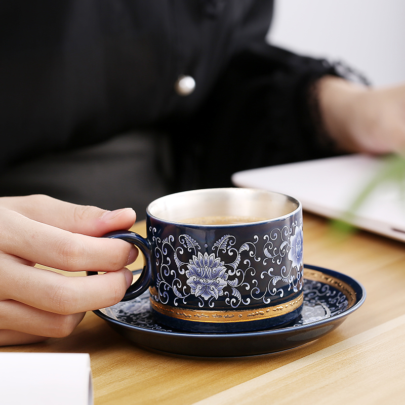 Cerámica S999 plata esterlina taza de café taza plato creativo regalo pareja taza viaje Oficina hogar jugo taza - 5