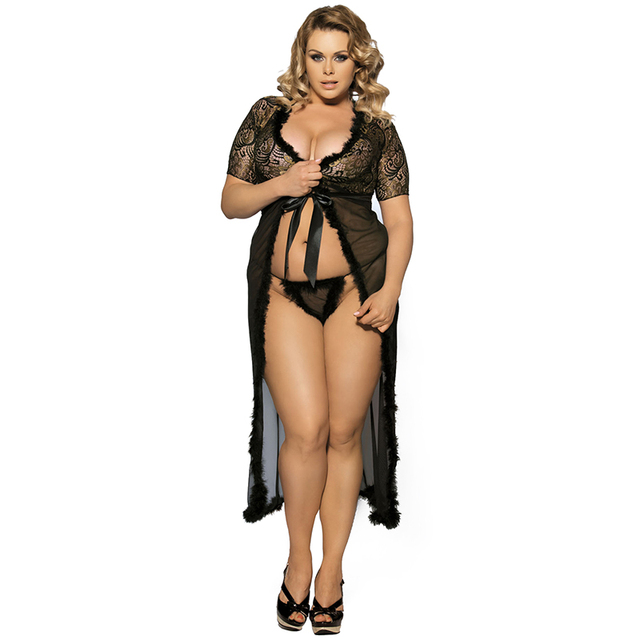 6e20d6d8c659b 2018 New S-5XL Plus Large Size Women Sexy Lace Lingerie Nightdress Fat MM  Clothes Perspective Pajamas+G-string 2 Colour 43R80068