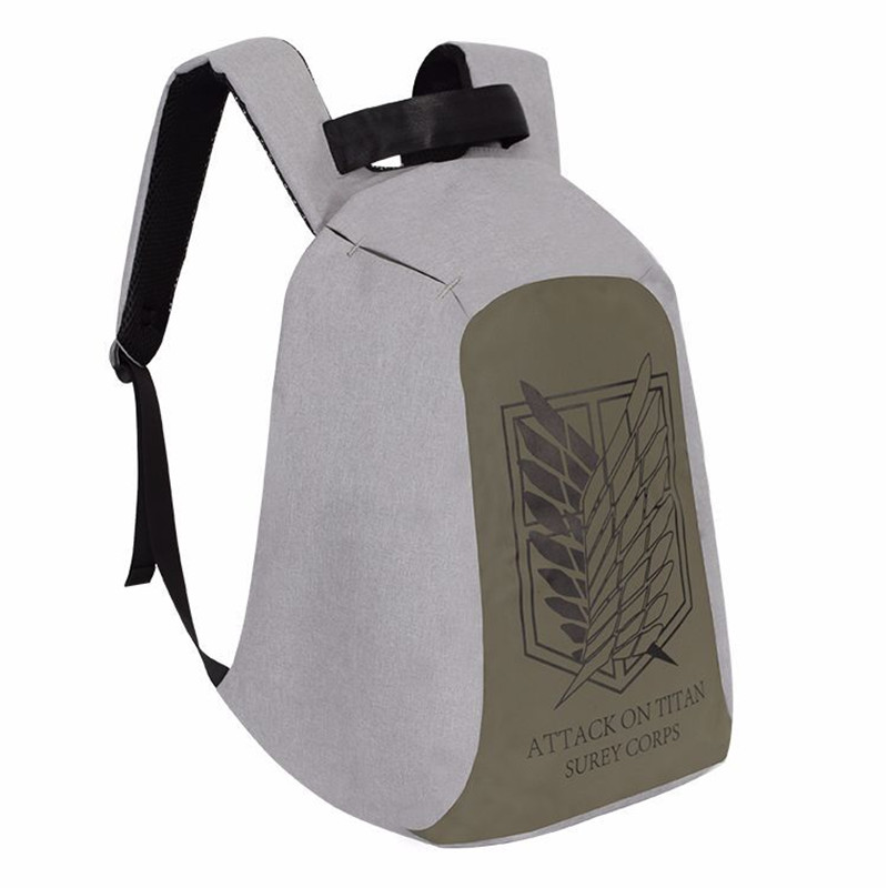 New Anime Attack on Titan Survey Corps Backpack Bag Anti Theft School Rucksack Student Book Bag Cosplay For 14 Inch Laptop ootdty new fashion anime theme death note cosplay notebook new school large writing journal 20 5cm 14 5cm