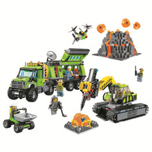 BELA City Explorers Volcano Exploration Base Building Blocks Sets Bricks Kids Model Kids Toys Marvel Compatible Legoings