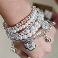 Hot sale Fashion Multilayer Bracelet Beauty snap Bracelets fit 18MM snap buttons wholesale