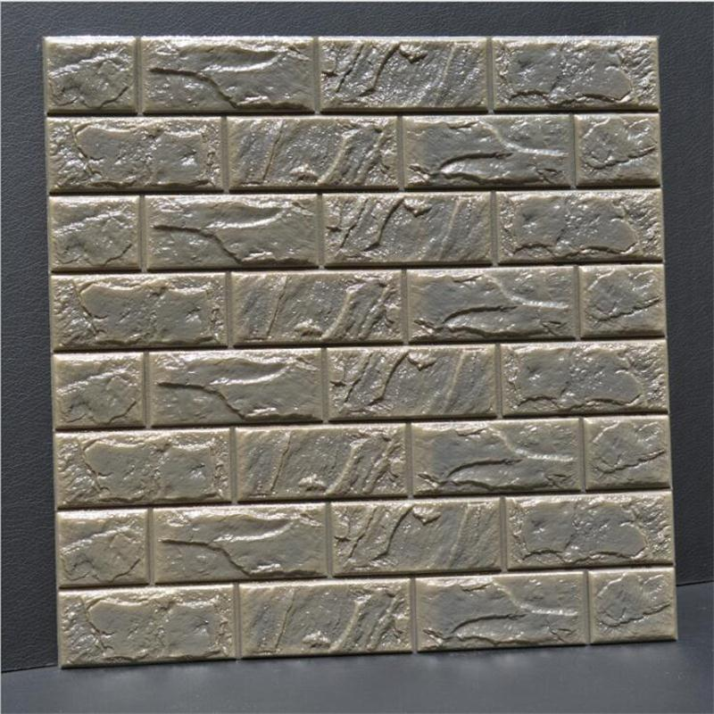 3D PE Foam Flexible Stone Brick Wall Stickers Home Decor TV Sofa Wall Art Mural Kids Safty Thicker Poster Embossed DIY Wallpaper