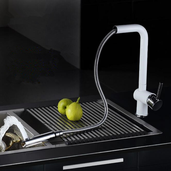 White Kitchen Mixer Tap aliexpress : buy 2015 pull out kitchen faucet white spray
