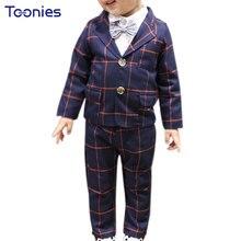 Mode coréenne Enfants Garçons Plaid Blazers Enfants Blazer + Pantalon Gentleman Vêtements Pour Mariages Formelle Parti Vêtements Blazers