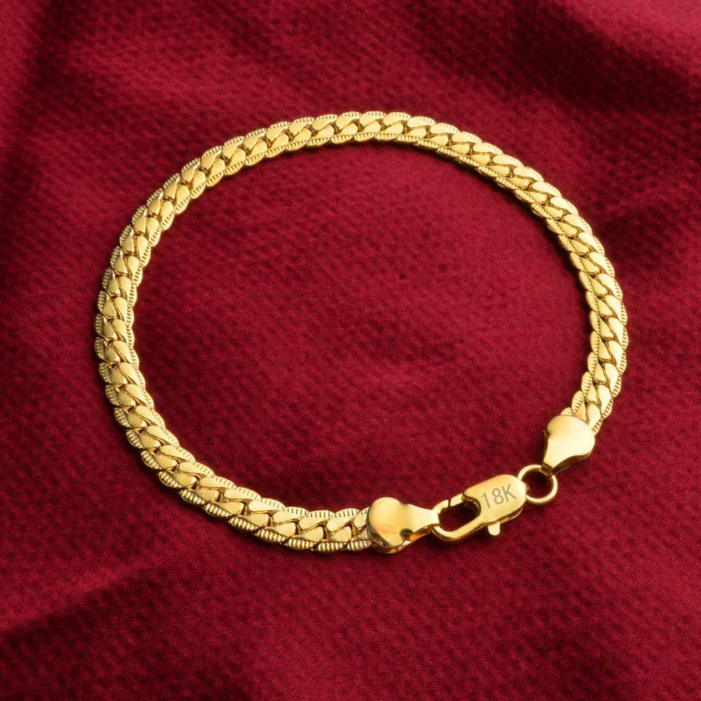 SMTCAT 5mm mężczyzna 18 K znaczek bransoletka złoty wąż łańcuch Link Curb mankiet bransoletka mężczyzna Armbanden Rock Wristband Hiphop mężczyźni biżuteria