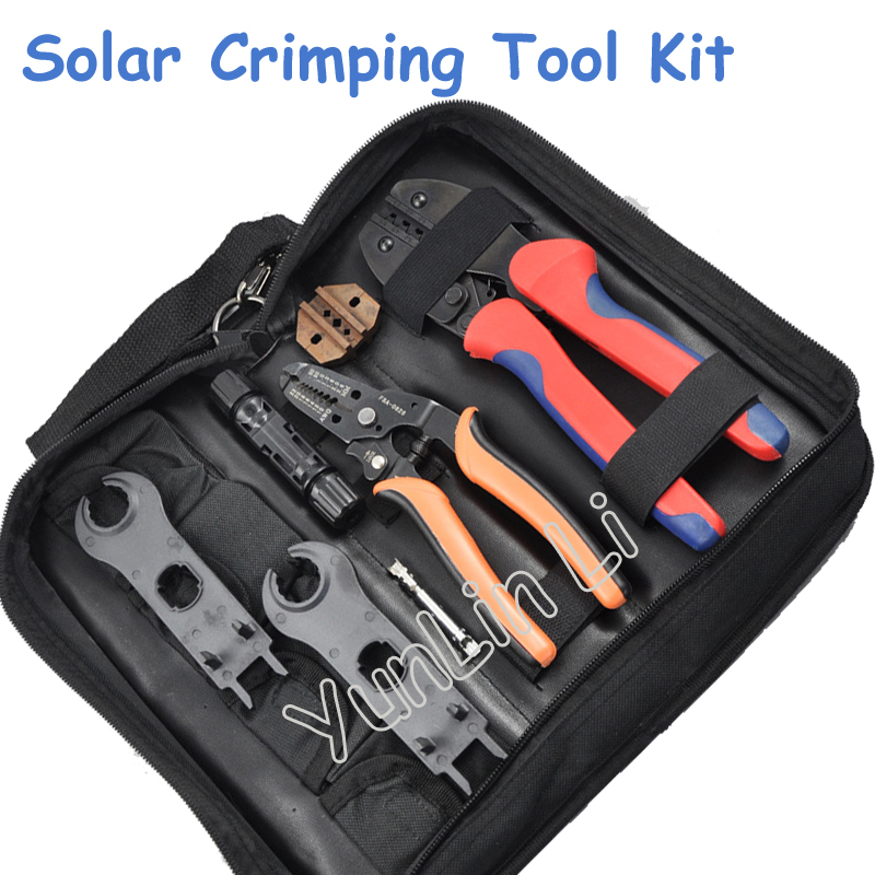 Solar Crimping Tool Kit Crimper for 2.5 6.0mm2 MC3 MC4 Connectors Cable Cutter PV Crimp Tools Solar System Connect|Hand Tool Sets| |  -