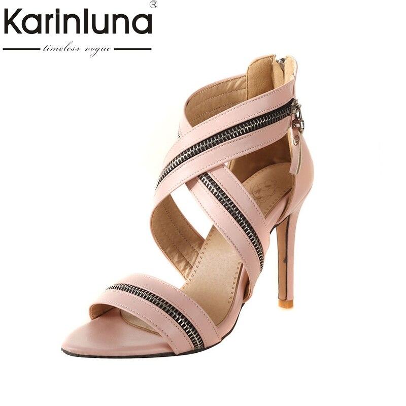 Karinluna 2018 Summer Brand New Fashion Zipper Design Women Sandals Plus Size 32-46 High Heels Elegant Shoes Woman plus size zipper fly stud and appliques design straight leg jeans