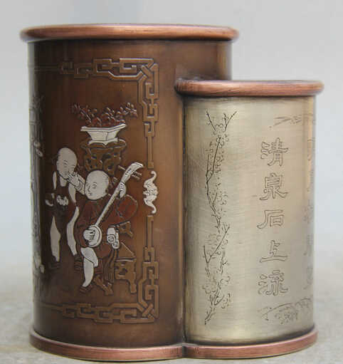 "Scy S0524 5 ""中国銅民俗花ワード竹トングzi男の子プレイブラシポット鉛筆花瓶"