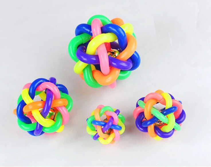 Interactieve Voor Grote Hond Pet Rainbow Puppy Bal Kleurrijke Bell Rubber Speelgoed Hond Beet Bestendig XS/S/M 3006 #