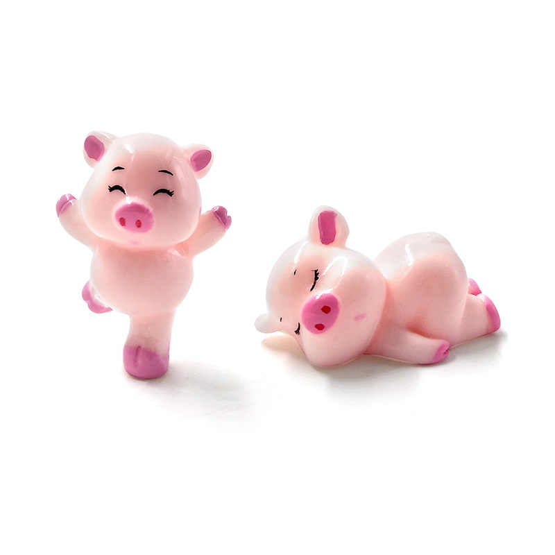 Pig Bò Gia Đình Resin Thủ Công Mỹ Nghệ động vật mô hình Thu Nhỏ Con Số phim hoạt Hình cổ tích trang trí sân vườn phụ kiện thiết lập đồ chơi Quà Tặng Cho Trẻ Em