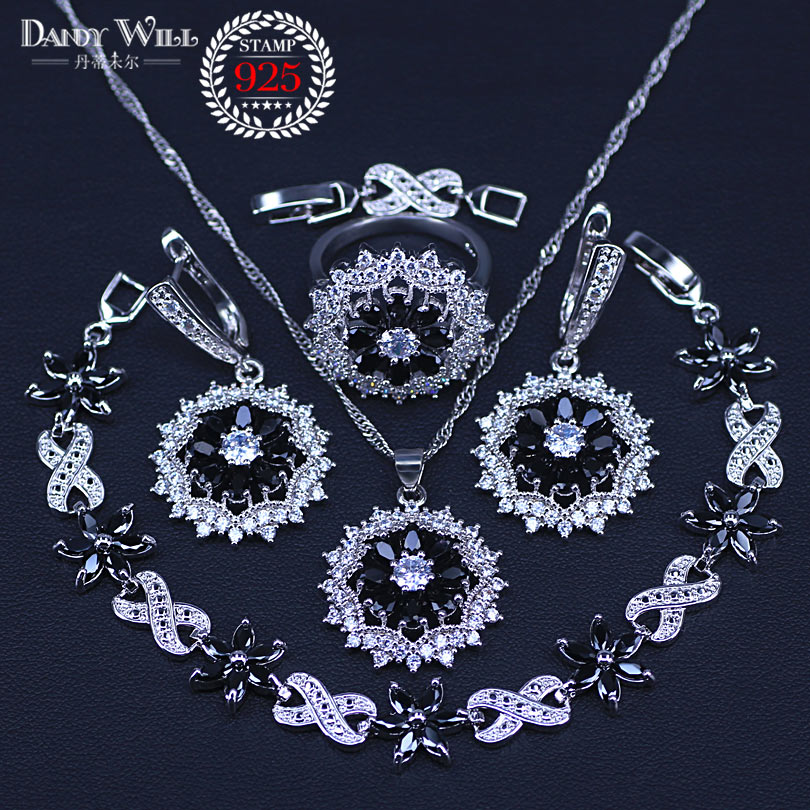 New Arrival 4 Piece 925 Sterling Silver Big flower Black Cubic Zircon Tennis Necklace/Earrings /BraceletJewelry Set For WomenNew Arrival 4 Piece 925 Sterling Silver Big flower Black Cubic Zircon Tennis Necklace/Earrings /BraceletJewelry Set For Women