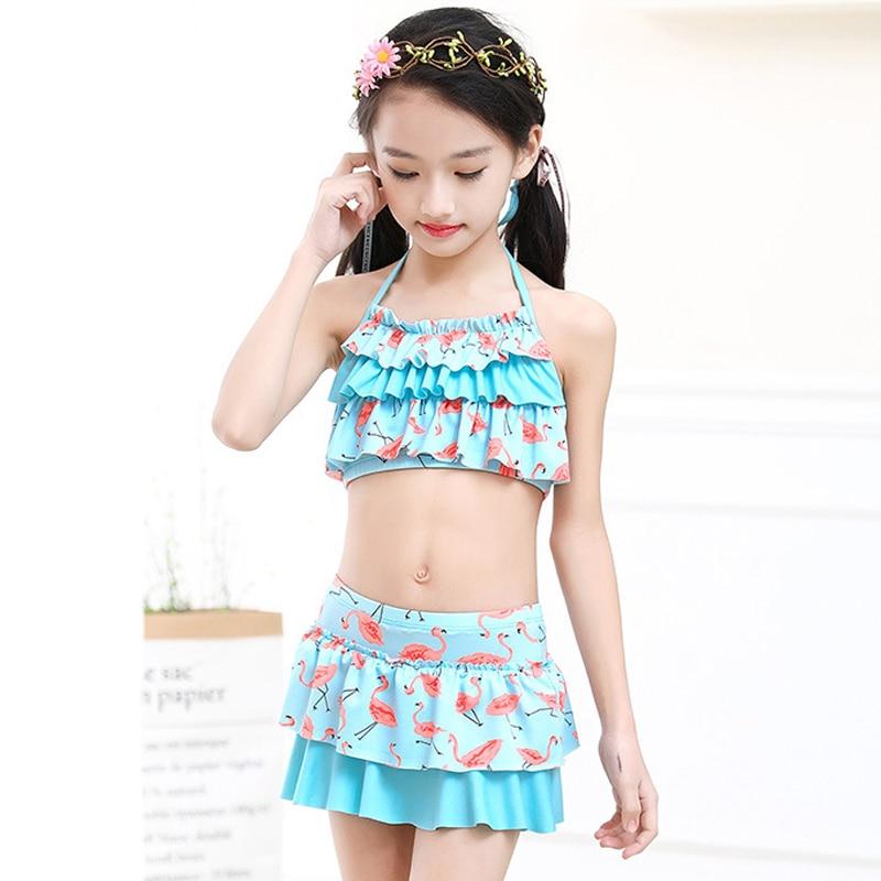 2019 Latest Bikini Swimwear Girl Children Swimsuit Children Swimming Wear Skirt Sexy Bikini Swimsuit Kids Floral Bathing Suit