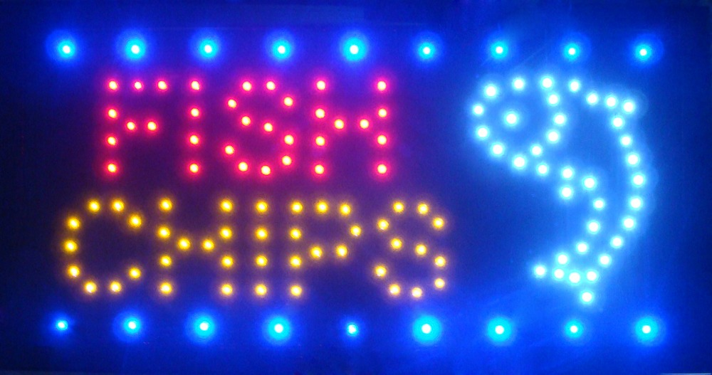 Neon Lights LED Animated Fish Chips Sign Customers Attractive Sign Store Shop Sign
