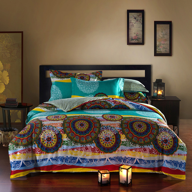 Lovely Bright Colored Oriental Bohemian Style Exotic Bedding Set Queen Size Cotton Bed  Sheets Pillowcase Duvet Cover