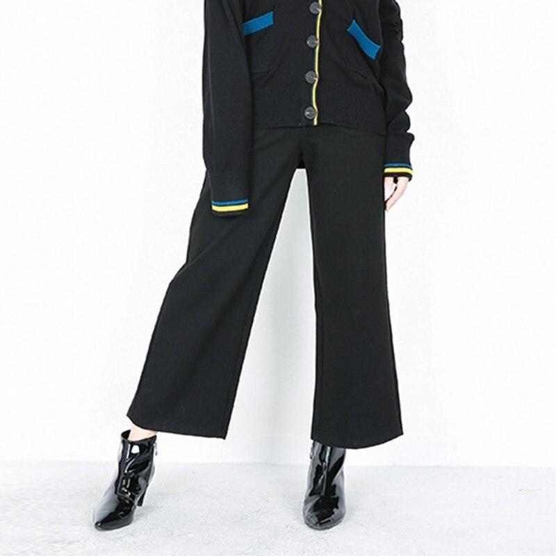CHICEVER 2018 otoño pantalón para las mujeres pantalones de pierna ancha de cintura  alta negro tobillo longitud Pantalones mujer ropa de moda en Pantalones ... 49395f2ab79