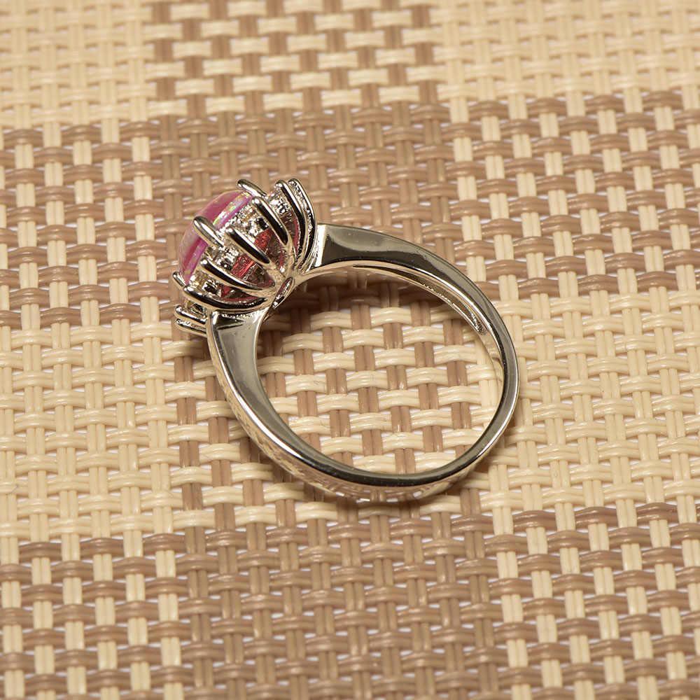 Weinuoสีชมพูโอปอลไฟสีขาวคริสตัลแหวนเงินแท้925 Top Qualityแฟนซีเครื่องประดับแหวนแต่งงานขนาด5 6 7 8 9 10 11 A303