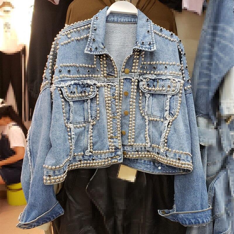2019 femmes Harajuku Denim manteau lourd main perlé Rivet court Jeans vestes printemps automne dame décontracté lâche unique boutonnage haut