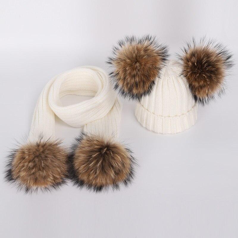 New Cute Children's Raccoon Fur pom poms Knit Beanie Hat Scarf Boy Girl Winter Thicken Hedging Cap Scarves Soft Ski Baby Kids 3