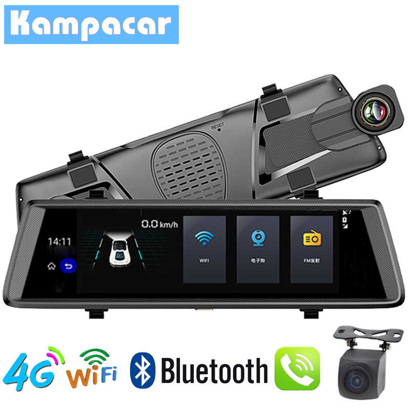Kampacar 4G Car DVR Camera Wifi GPS FHD 1080P Dash Cam Navigation ADAS Car Video Recorder Dual Lens with Reverse Camera Mirror